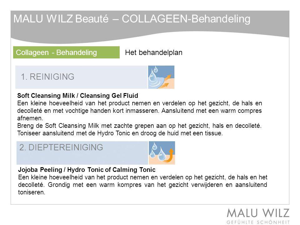 1. REINIGING 2. DIEPTEREINIGING Soft Cleansing Milk / Cleansing Gel Fluid Een kleine hoeveelheid van het product nemen en verdelen op het gezicht, de