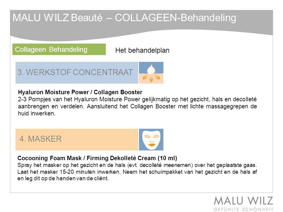 3. WERKSTOF CONCENTRAAT Hyaluron Moisture Power / Collagen Booster 2-3 Pompjes van het Hyaluron Moisture Power gelijkmatig op het gezicht, hals en dec