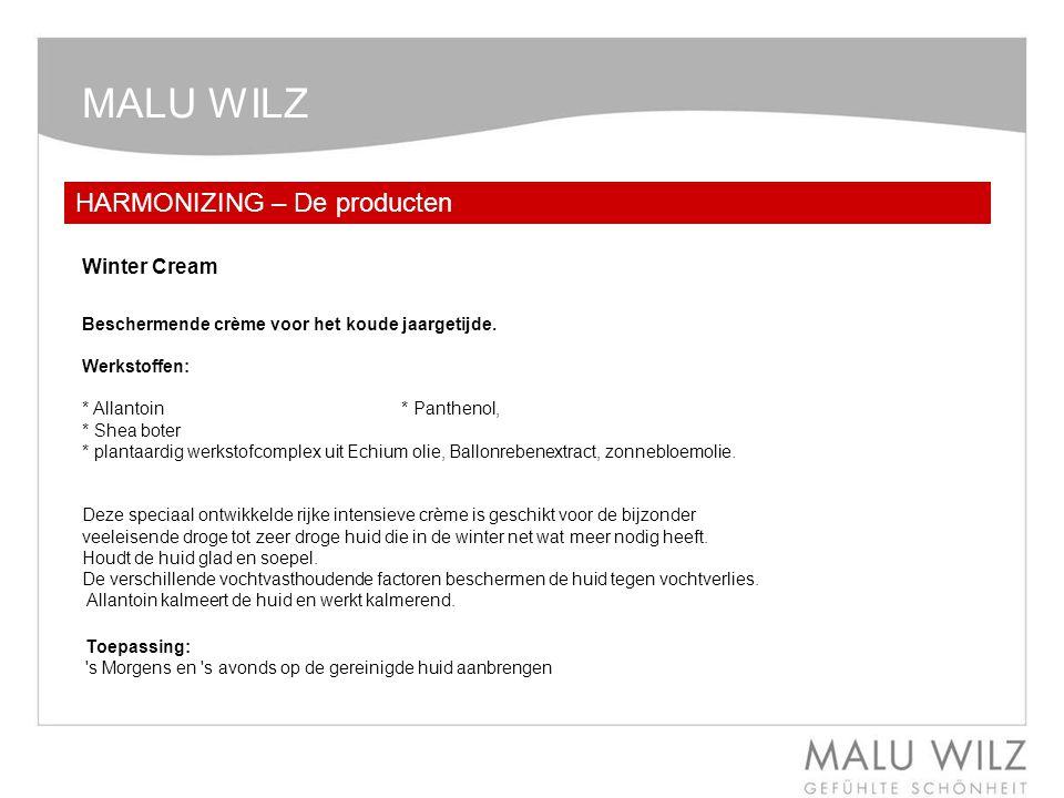 MALU WILZ HARMONIZING – De producten Winter Cream Beschermende crème voor het koude jaargetijde. Werkstoffen: * Allantoin * Panthenol, * Shea boter *