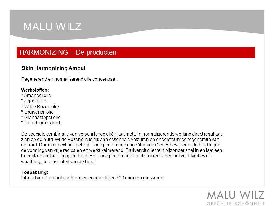 MALU WILZ HARMONIZING – De producten Regenerend en normaliserend olie concentraat. Werkstoffen: * Amandel olie * Jojoba olie * Wilde Rozen olie * Drui