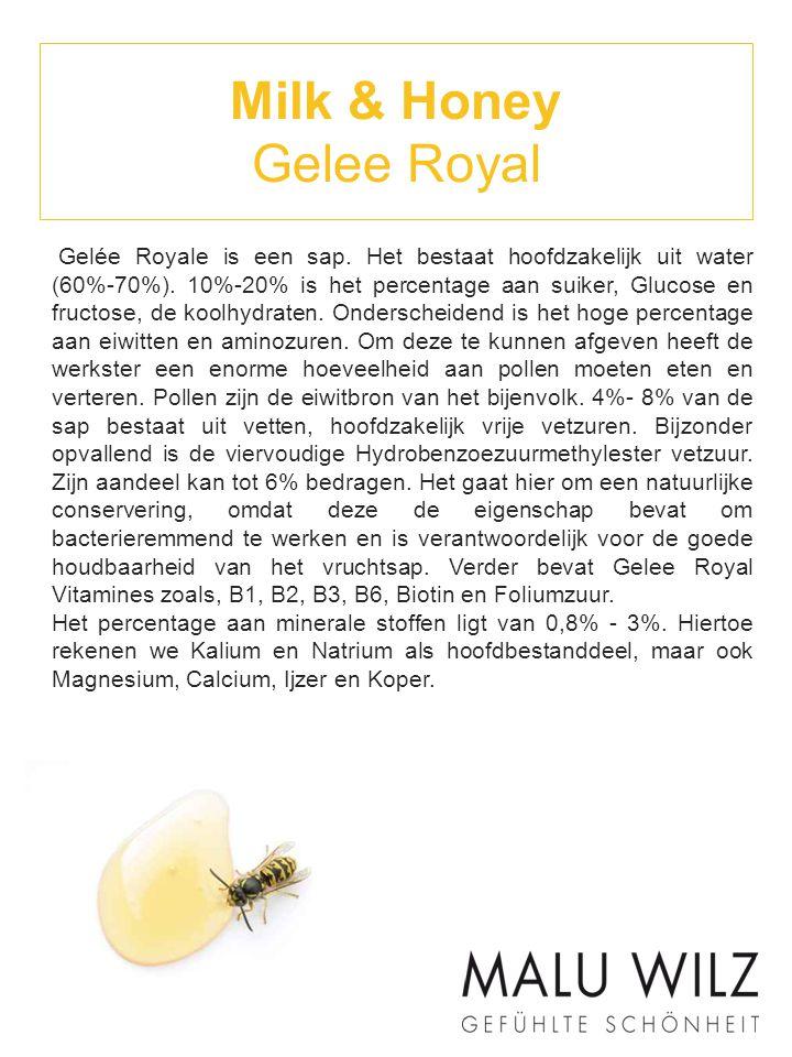 Milk & Honey Gelee Royal Gelée Royale is een sap. Het bestaat hoofdzakelijk uit water (60%-70%). 10%-20% is het percentage aan suiker, Glucose en fruc