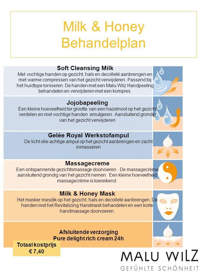 Milk & Honey Behandelplan Soft Cleansing Milk Met vochtige handen op gezicht, hals en decolleté aanbrengen en met warme compressen van het gezicht ver