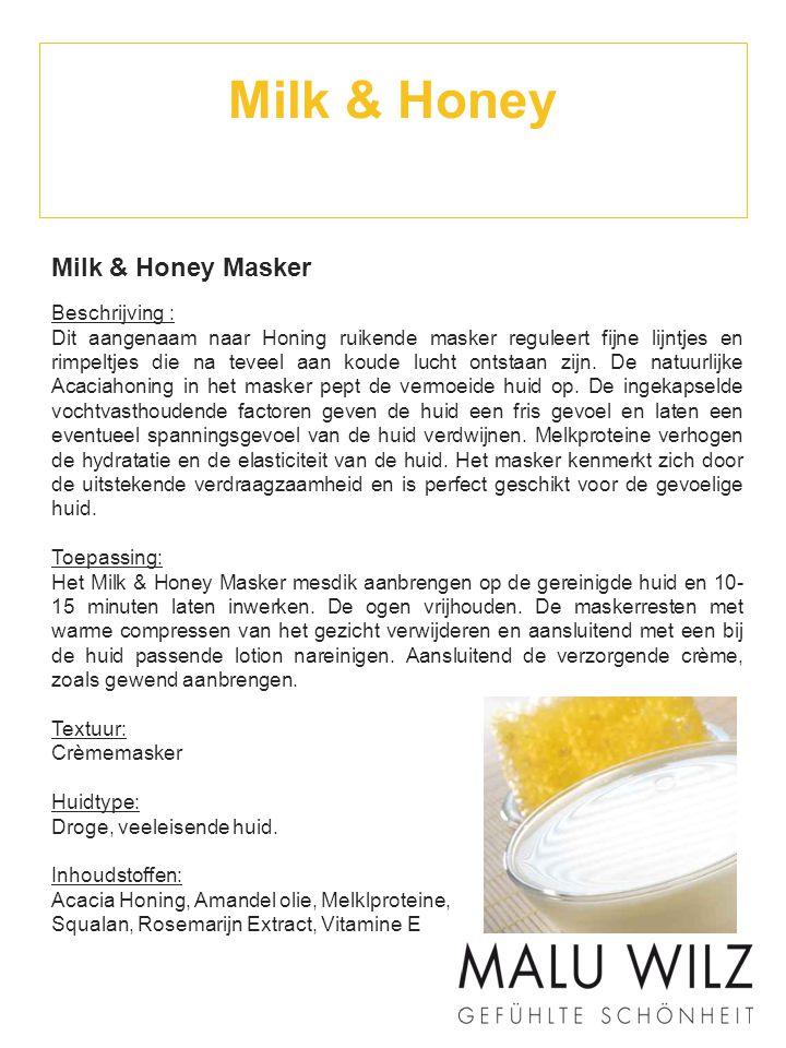 Milk & Honey Milk & Honey Masker Beschrijving : Dit aangenaam naar Honing ruikende masker reguleert fijne lijntjes en rimpeltjes die na teveel aan kou