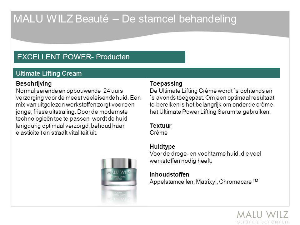 MALU WILZ Beauté – De stamcel behandeling Ultimate Lifting Cream Beschrijving Normaliserende en opbouwende 24 uurs verzorging voor de meest veeleisend