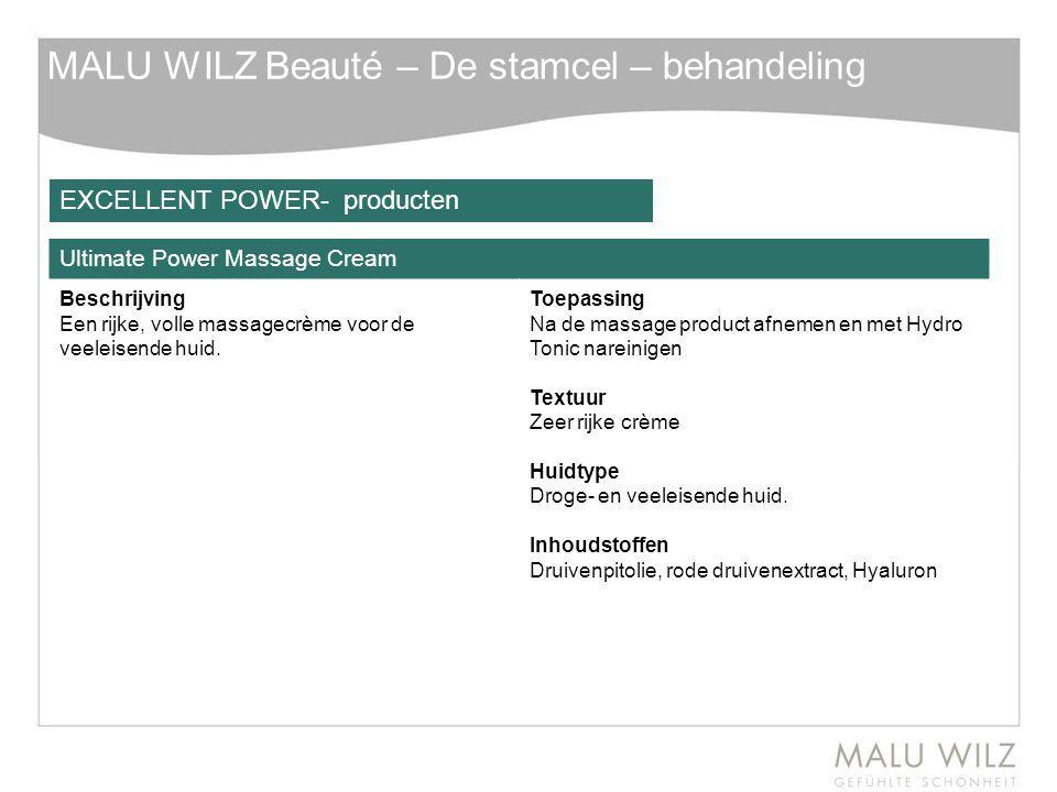 MALU WILZ Beauté – De stamcel – behandeling Ultimate Power Massage Cream Beschrijving Een rijke, volle massagecrème voor de veeleisende huid. Toepassi