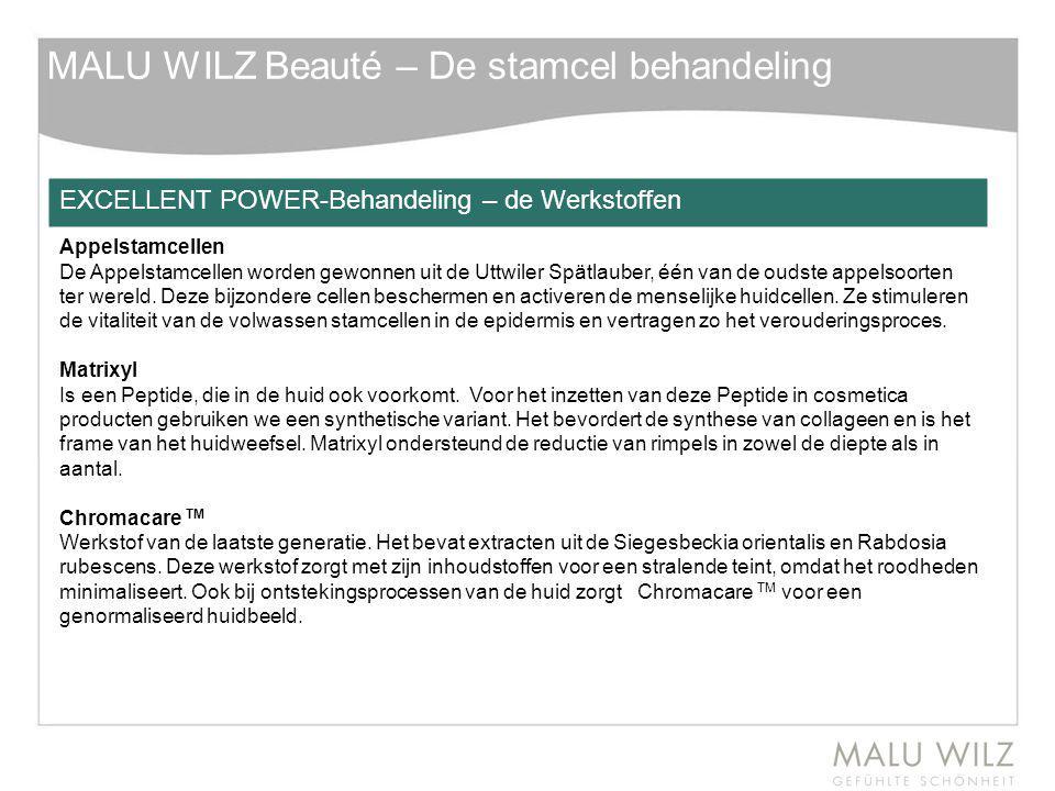 MALU WILZ Beauté – De stamcel behandeling EXCELLENT POWER-Behandeling – de Werkstoffen Appelstamcellen De Appelstamcellen worden gewonnen uit de Uttwi