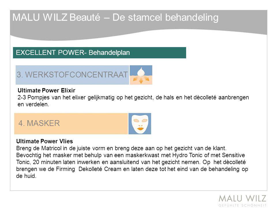 MALU WILZ Beauté – De stamcel behandeling 3. WERKSTOFCONCENTRAAT Ultimate Power Elixir 2-3 Pompjes van het elixer gelijkmatig op het gezicht, de hals