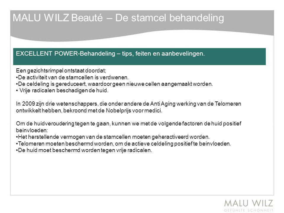 MALU WILZ Beauté – De stamcel behandeling EXCELLENT POWER-Behandeling – tips, feiten en aanbevelingen. Een gezichtsrimpel ontstaat doordat; De activit