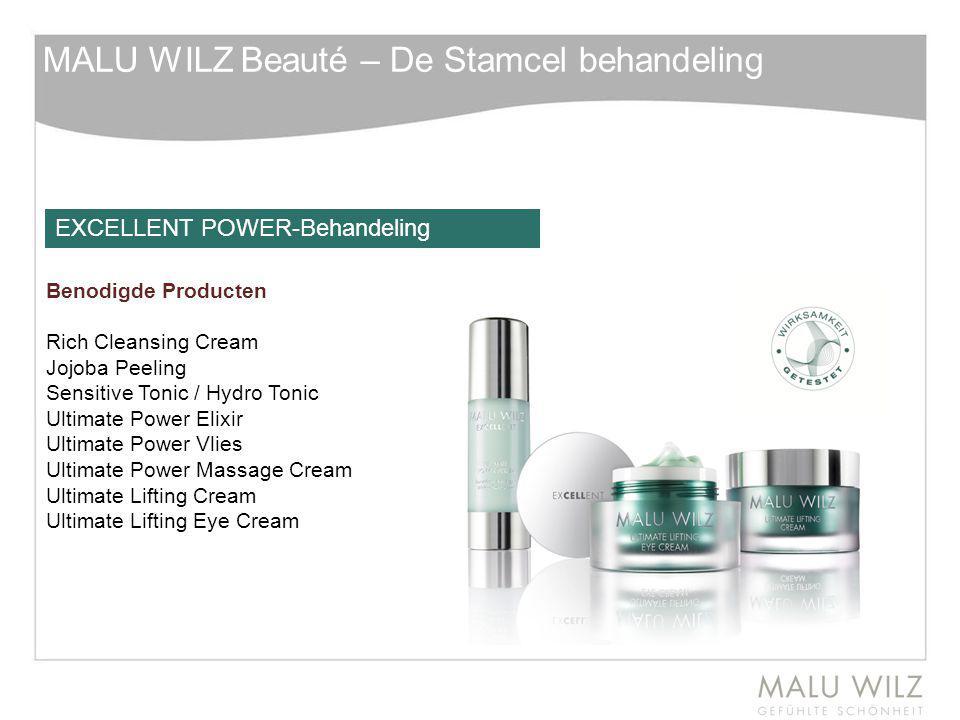 MALU WILZ Beauté – De Stamcel behandeling Benodigde Producten Rich Cleansing Cream Jojoba Peeling Sensitive Tonic / Hydro Tonic Ultimate Power Elixir