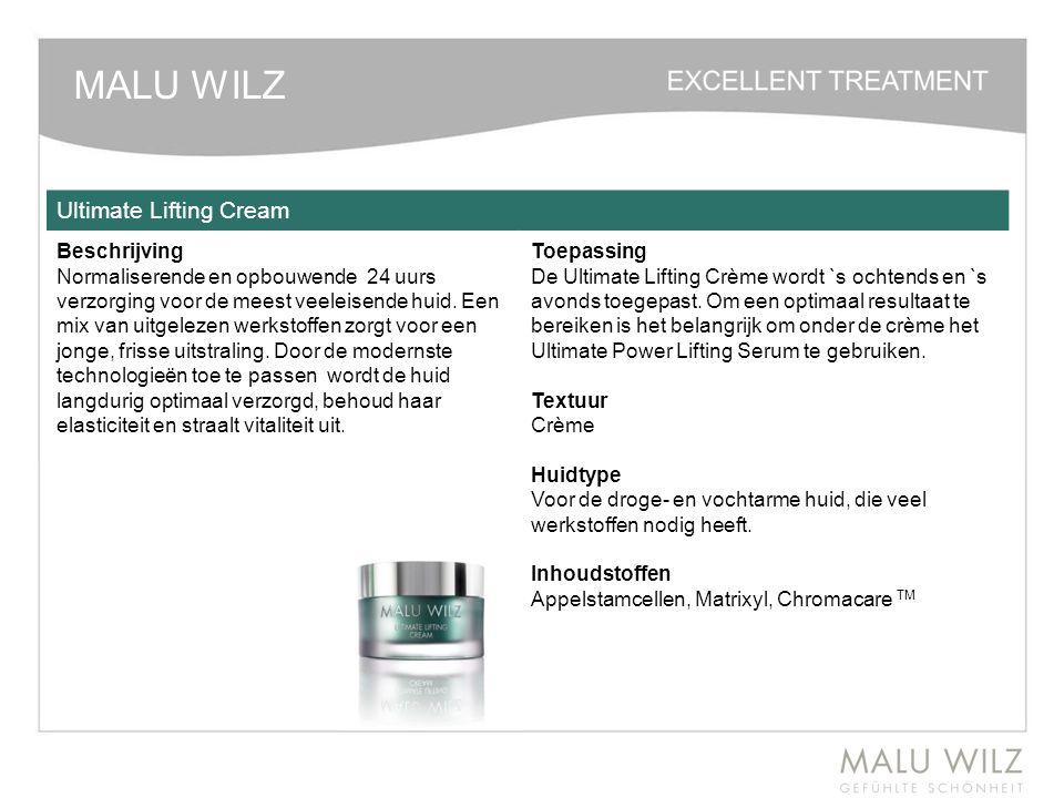 MALU WILZ Ultimate Lifting Cream Beschrijving Normaliserende en opbouwende 24 uurs verzorging voor de meest veeleisende huid. Een mix van uitgelezen w