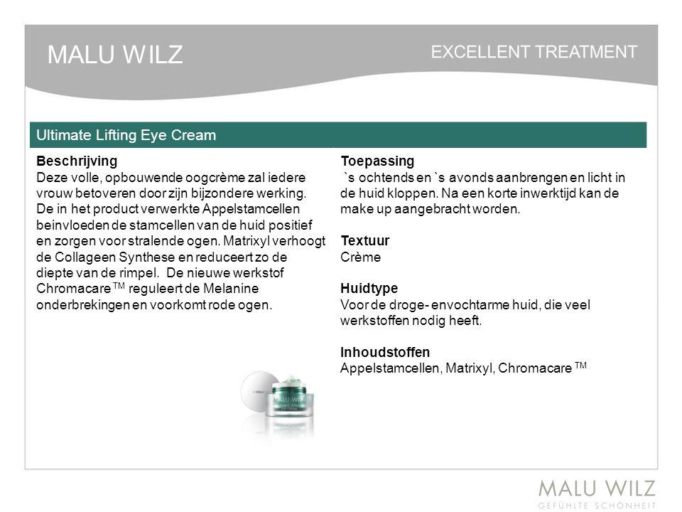 MALU WILZ Ultimate Lifting Eye Cream Beschrijving Deze volle, opbouwende oogcrème zal iedere vrouw betoveren door zijn bijzondere werking. De in het p