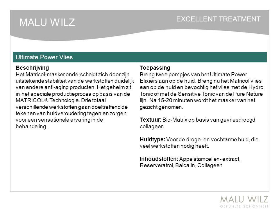 MALU WILZ Ultimate Power Vlies Beschrijving Het Matricol-masker onderscheidt zich door zijn uitstekende stabiliteit van de werkstoffen duidelijk van a