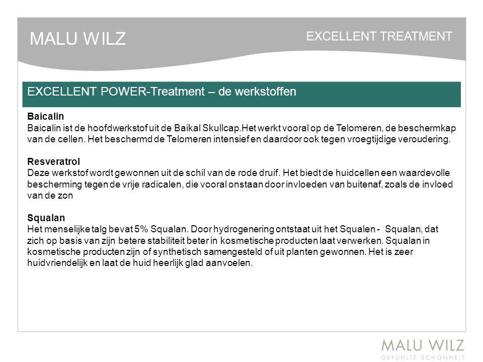 MALU WILZ EXCELLENT POWER-Treatment – de werkstoffen Baicalin Baicalin ist de hoofdwerkstof uit de Baikal Skullcap.Het werkt vooral op de Telomeren, d