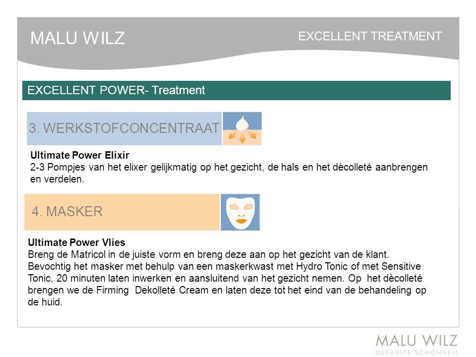 MALU WILZ 3. WERKSTOFCONCENTRAAT Ultimate Power Elixir 2-3 Pompjes van het elixer gelijkmatig op het gezicht, de hals en het dècolleté aanbrengen en v