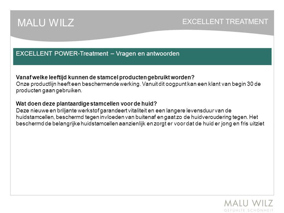 MALU WILZ EXCELLENT POWER-Treatment – Vragen en antwoorden Vanaf welke leeftijd kunnen de stamcel producten gebruikt worden? Onze productlijn heeft ee