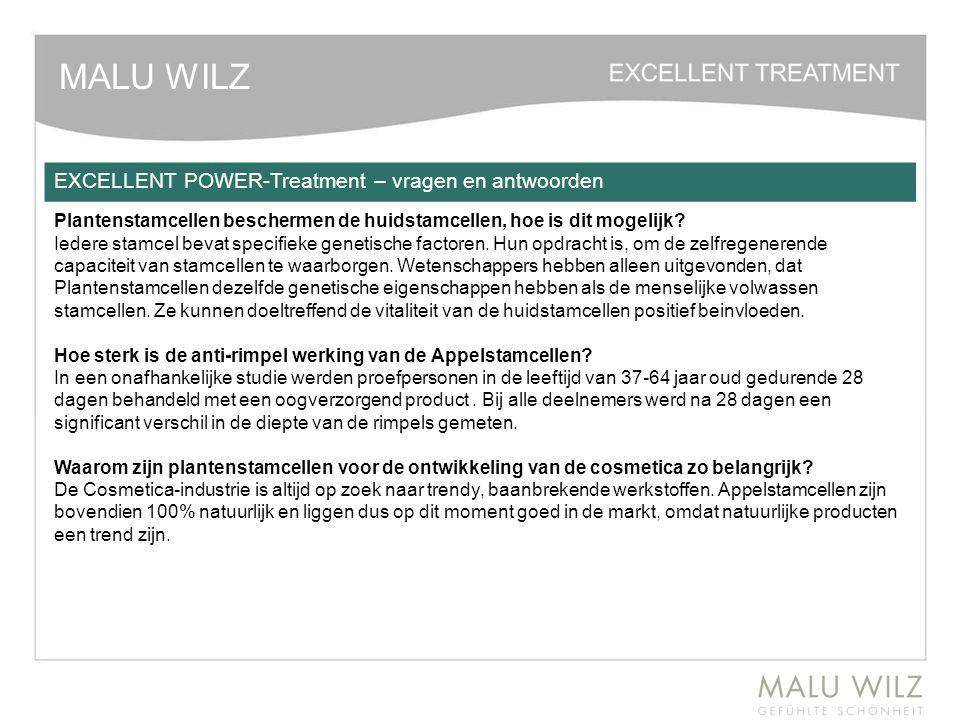 MALU WILZ EXCELLENT POWER-Treatment – vragen en antwoorden Plantenstamcellen beschermen de huidstamcellen, hoe is dit mogelijk? Iedere stamcel bevat s