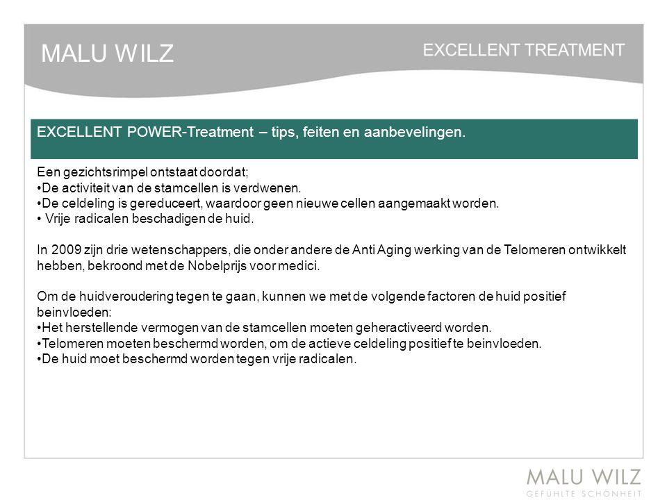 MALU WILZ EXCELLENT POWER-Treatment – tips, feiten en aanbevelingen. Een gezichtsrimpel ontstaat doordat; De activiteit van de stamcellen is verdwenen