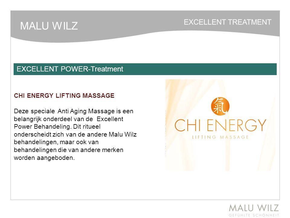 MALU WILZ CHI ENERGY LIFTING MASSAGE Deze speciale Anti Aging Massage is een belangrijk onderdeel van de Excellent Power Behandeling. Dit ritueel onde