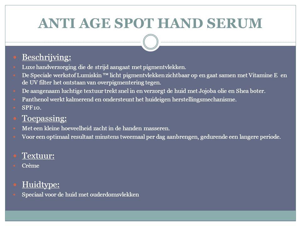 Beschrijving: Luxe handverzorging die de strijd aangaat met pigmentvlekken. De Speciale werkstof Lumiskin ™ licht pigmentvlekken zichtbaar op en gaat