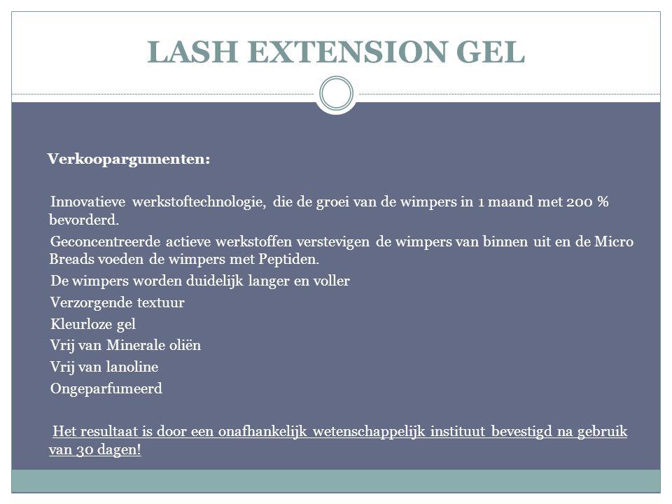 LASH EXTENSION GEL Verkoopargumenten: Innovatieve werkstoftechnologie, die de groei van de wimpers in 1 maand met 200 % bevorderd. Geconcentreerde act