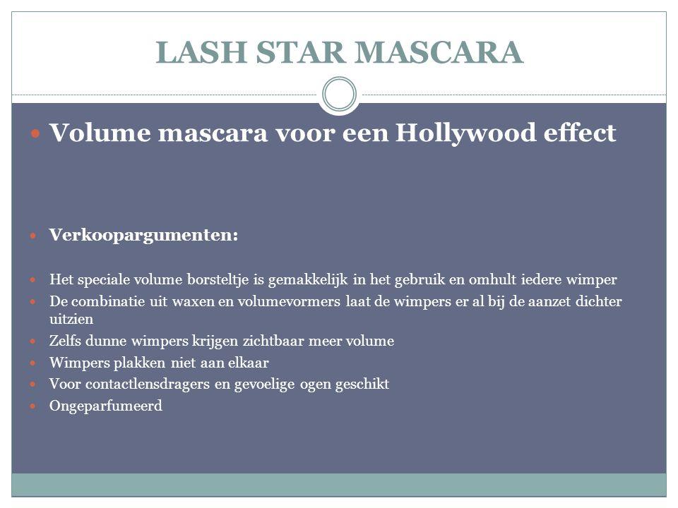 LASH STAR MASCARA Volume mascara voor een Hollywood effect Verkoopargumenten: Het speciale volume borsteltje is gemakkelijk in het gebruik en omhult i