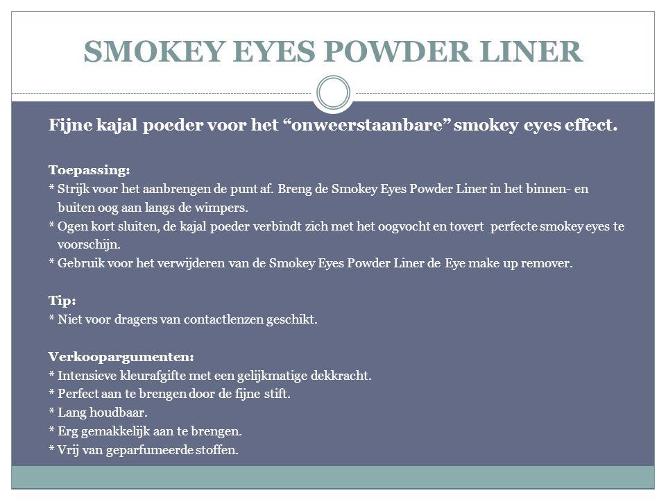 """SMOKEY EYES POWDER LINER Fijne kajal poeder voor het """"onweerstaanbare"""" smokey eyes effect. Toepassing: * Strijk voor het aanbrengen de punt af. Breng"""