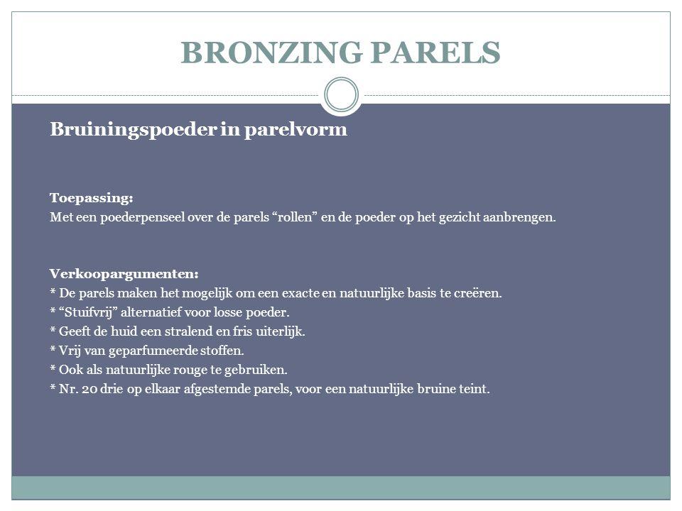 """BRONZING PARELS Bruiningspoeder in parelvorm Toepassing: Met een poederpenseel over de parels """"rollen"""" en de poeder op het gezicht aanbrengen. Verkoop"""