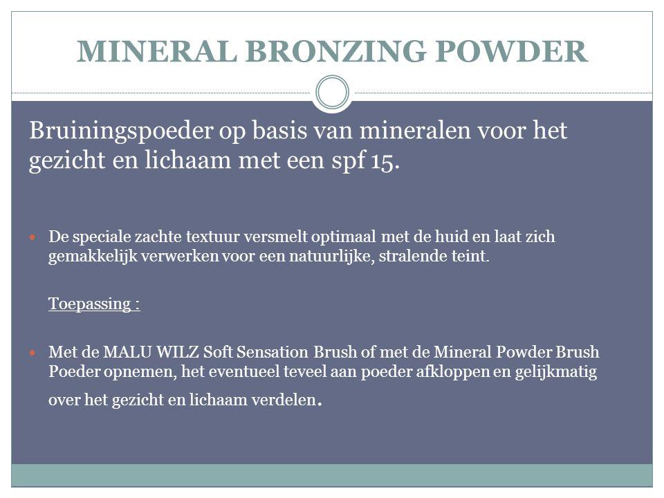 MINERAL BRONZING POWDER Bruiningspoeder op basis van mineralen voor het gezicht en lichaam met een spf 15. De speciale zachte textuur versmelt optimaa