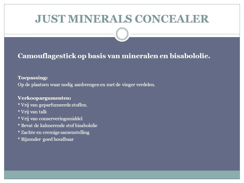 JUST MINERALS CONCEALER Camouflagestick op basis van mineralen en bisabololie. Toepassing: Op de plaatsen waar nodig aanbrengen en met de vinger verde