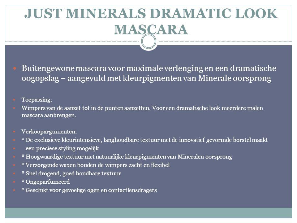 JUST MINERALS DRAMATIC LOOK MASCARA Buitengewone mascara voor maximale verlenging en een dramatische oogopslag – aangevuld met kleurpigmenten van Mine
