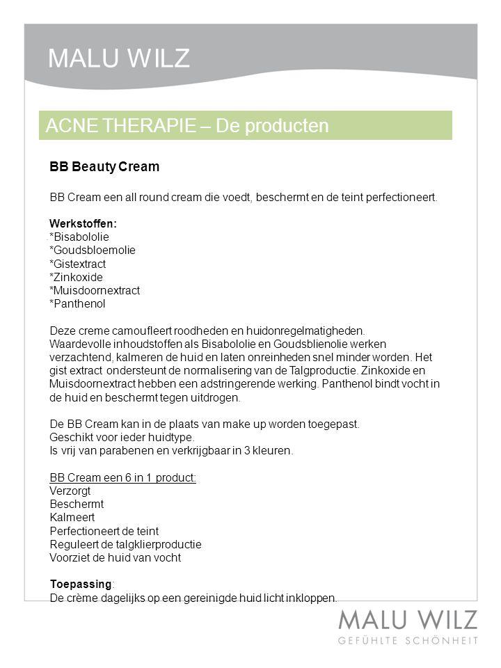BB Beauty Cream. ACNE THERAPIE – De producten MALU WILZ BB Cream een all round cream die voedt, beschermt en de teint perfectioneert. Werkstoffen: *Bi