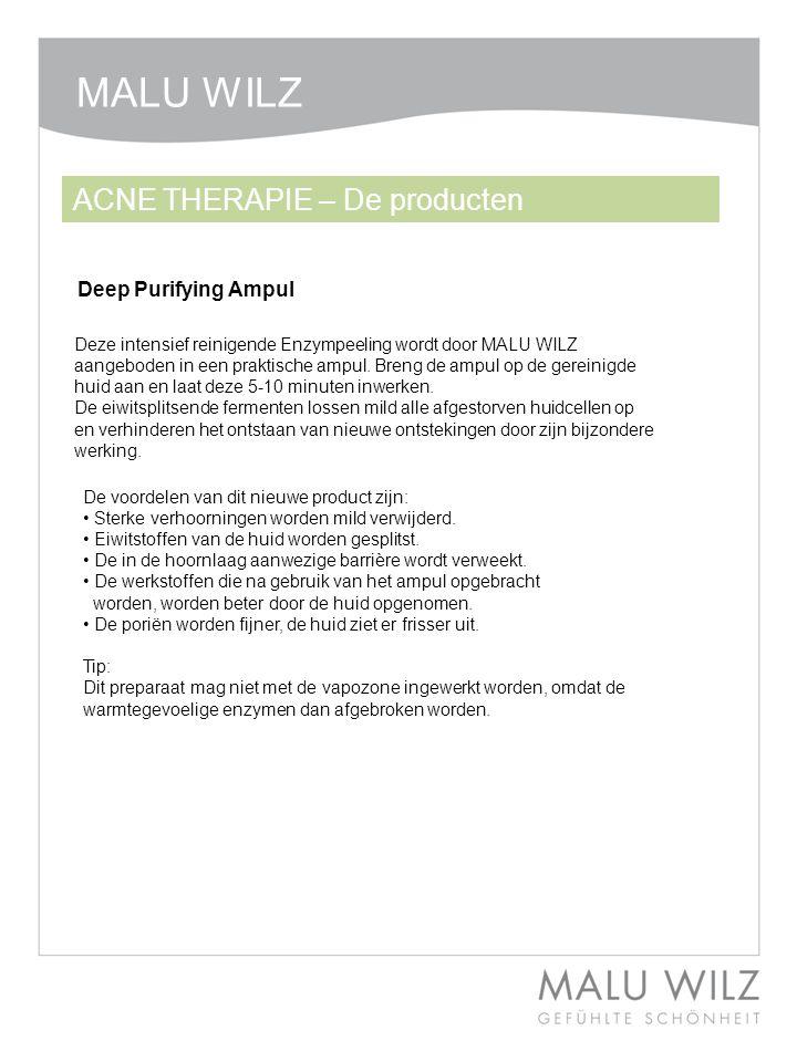 Deep Purifying Ampul Deze intensief reinigende Enzympeeling wordt door MALU WILZ aangeboden in een praktische ampul. Breng de ampul op de gereinigde h