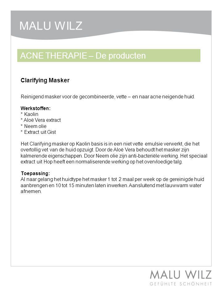 Reinigend masker voor de gecombineerde, vette – en naar acne neigende huid. Werkstoffen: * Kaolin * Aloë Vera extract * Neem olie * Extract uit Gist H