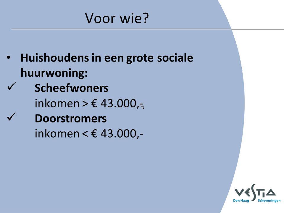 Voor wie? Huishoudens in een grote sociale huurwoning: Scheefwoners inkomen > € 43.000,- Doorstromers inkomen < € 43.000,-