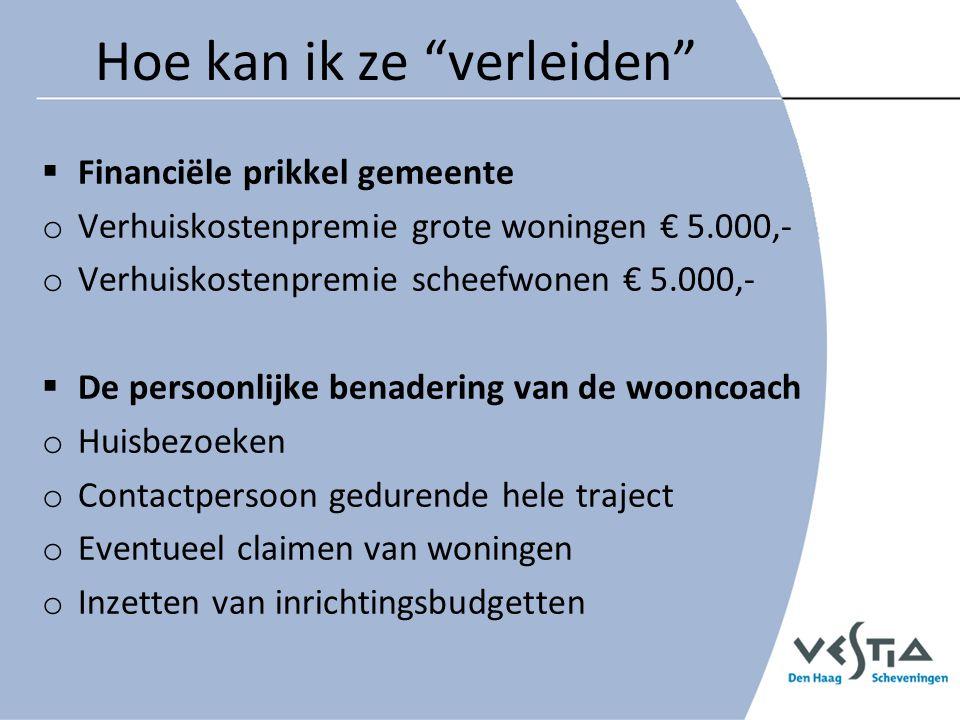 Hoe zijn we te werk gegaan Brief naar alle huishoudens die in een grote sociale huurwoning van Vestia Den Haag Scheveningen wonen Groot = opp.