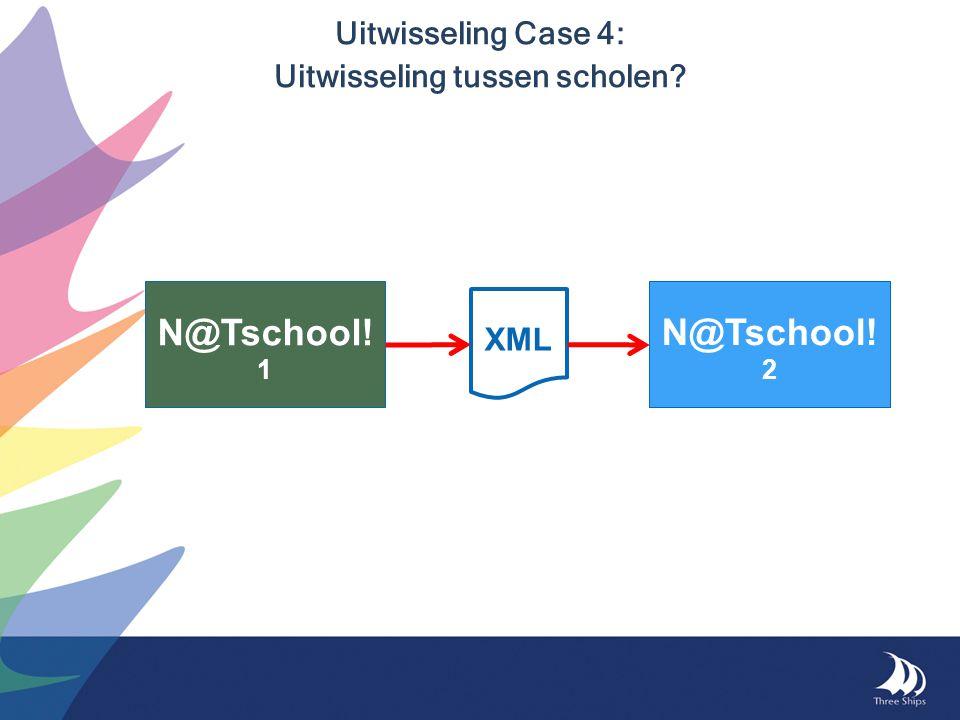 Uitwisseling Case 4: Uitwisseling tussen scholen? N@Tschool! 1 N@Tschool! 2 XML