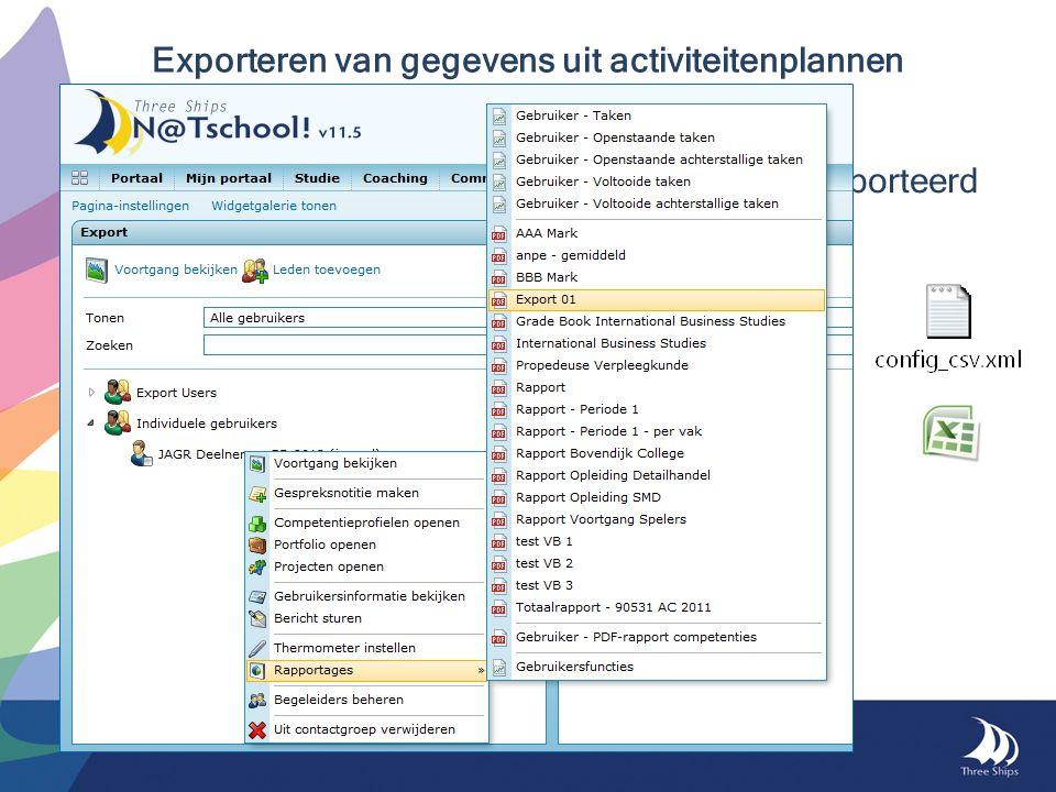 Exporteren van gegevens uit activiteitenplannen Bepaal zelf welke gegevens worden geëxporteerd