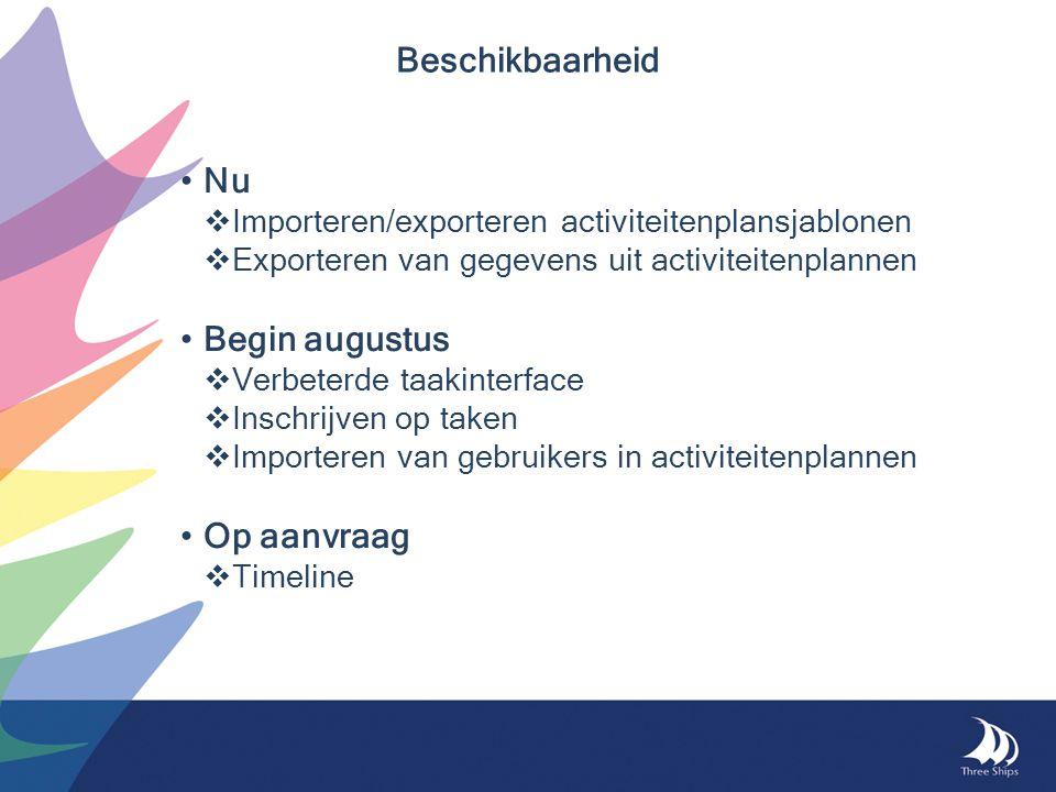 Beschikbaarheid Nu  Importeren/exporteren activiteitenplansjablonen  Exporteren van gegevens uit activiteitenplannen Begin augustus  Verbeterde taakinterface  Inschrijven op taken  Importeren van gebruikers in activiteitenplannen Op aanvraag  Timeline