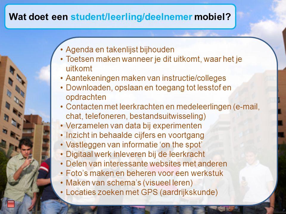Wat doet een student/leerling/deelnemer mobiel.