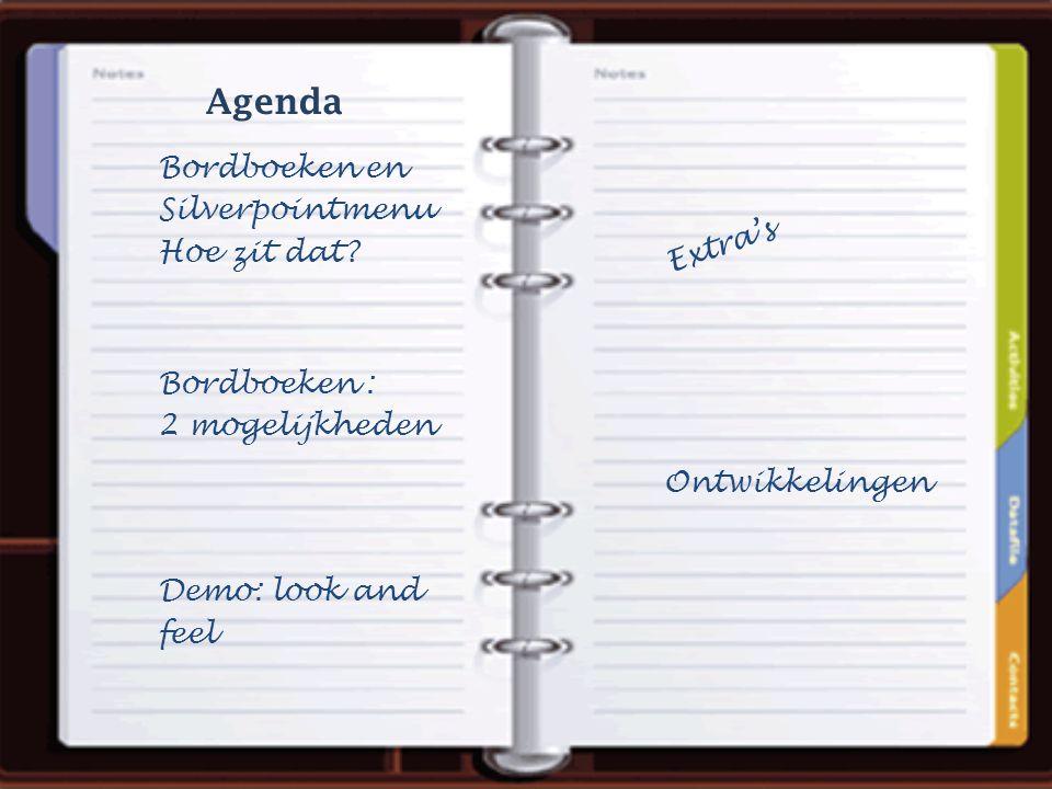 Bordboeken en Silverpointmenu Hoe zit dat? Agenda Extra's Ontwikkelingen Bordboeken : 2 mogelijkheden Demo: look and feel