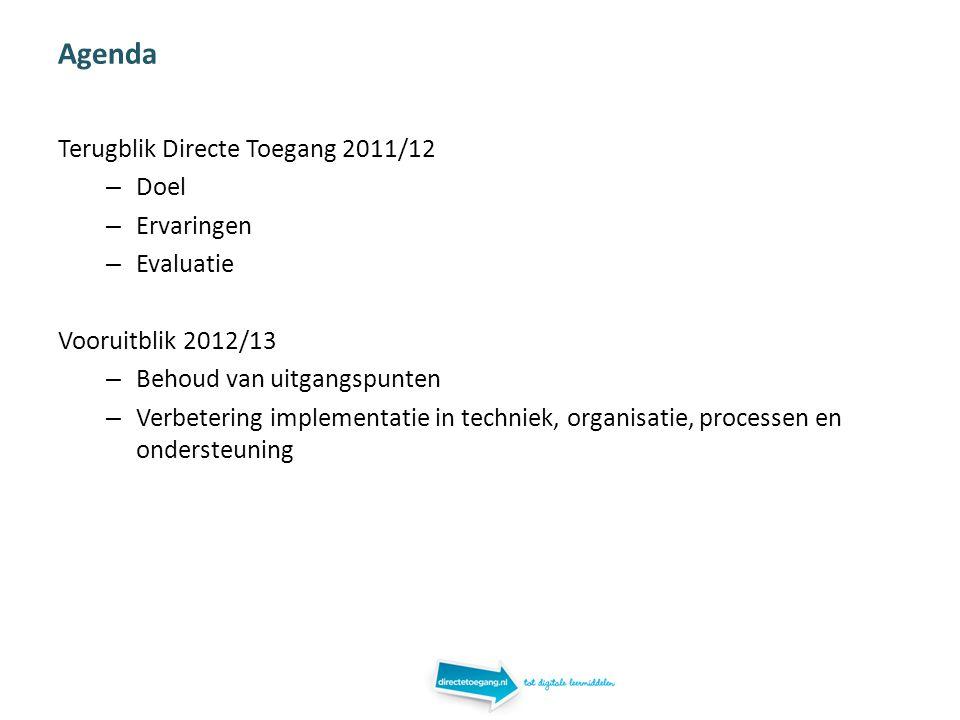 Agenda Terugblik Directe Toegang 2011/12 – Doel – Ervaringen – Evaluatie Vooruitblik 2012/13 – Behoud van uitgangspunten – Verbetering implementatie in techniek, organisatie, processen en ondersteuning