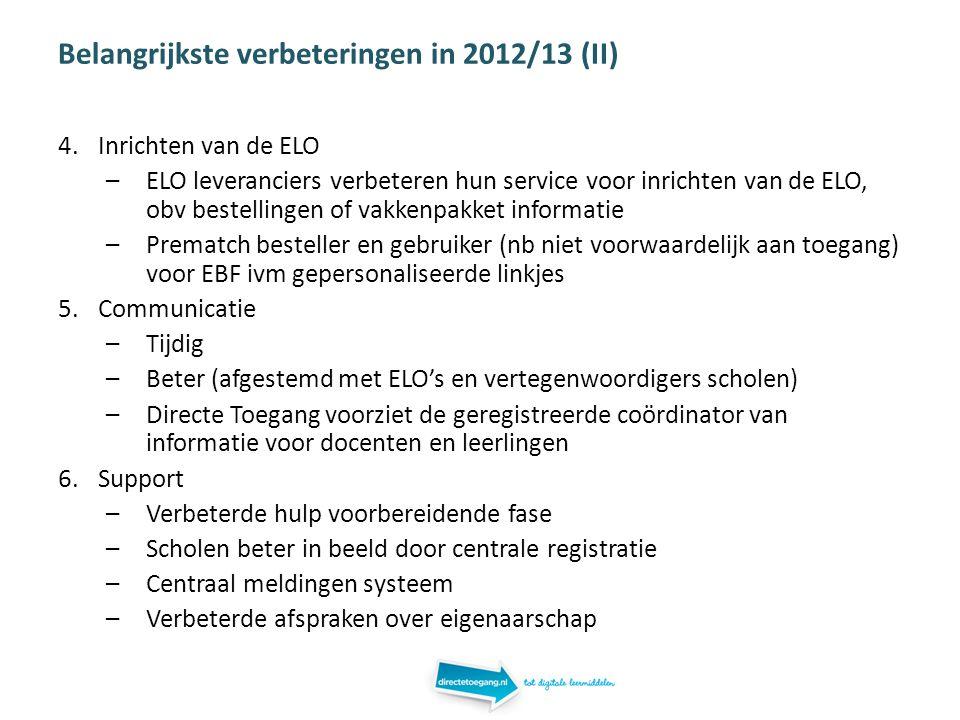 Belangrijkste verbeteringen in 2012/13 (II) 4.Inrichten van de ELO –ELO leveranciers verbeteren hun service voor inrichten van de ELO, obv bestellingen of vakkenpakket informatie –Prematch besteller en gebruiker (nb niet voorwaardelijk aan toegang) voor EBF ivm gepersonaliseerde linkjes 5.Communicatie –Tijdig –Beter (afgestemd met ELO's en vertegenwoordigers scholen) –Directe Toegang voorziet de geregistreerde coördinator van informatie voor docenten en leerlingen 6.Support –Verbeterde hulp voorbereidende fase –Scholen beter in beeld door centrale registratie –Centraal meldingen systeem –Verbeterde afspraken over eigenaarschap