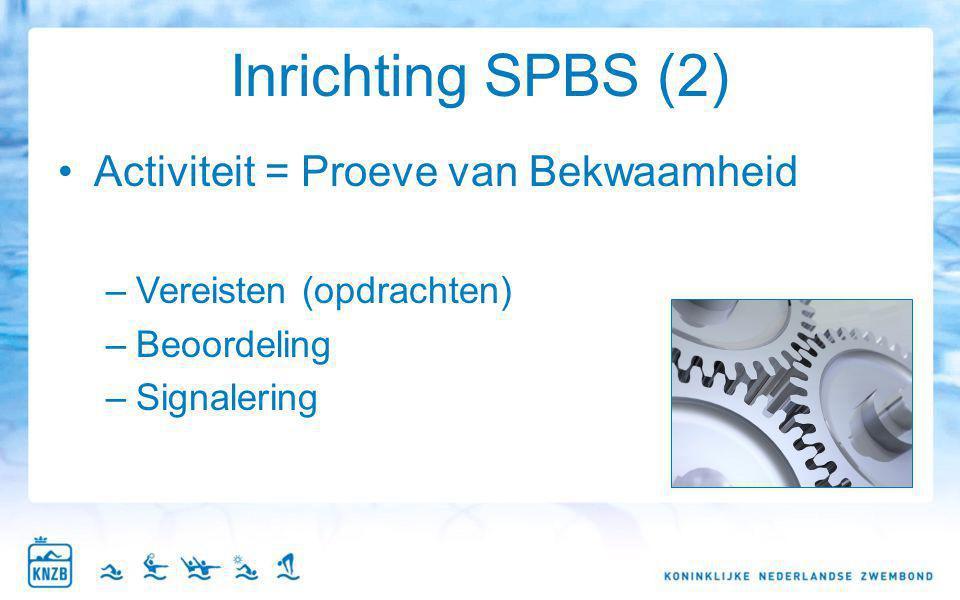 Inrichting SPBS (2) Activiteit = Proeve van Bekwaamheid –Vereisten (opdrachten) –Beoordeling –Signalering