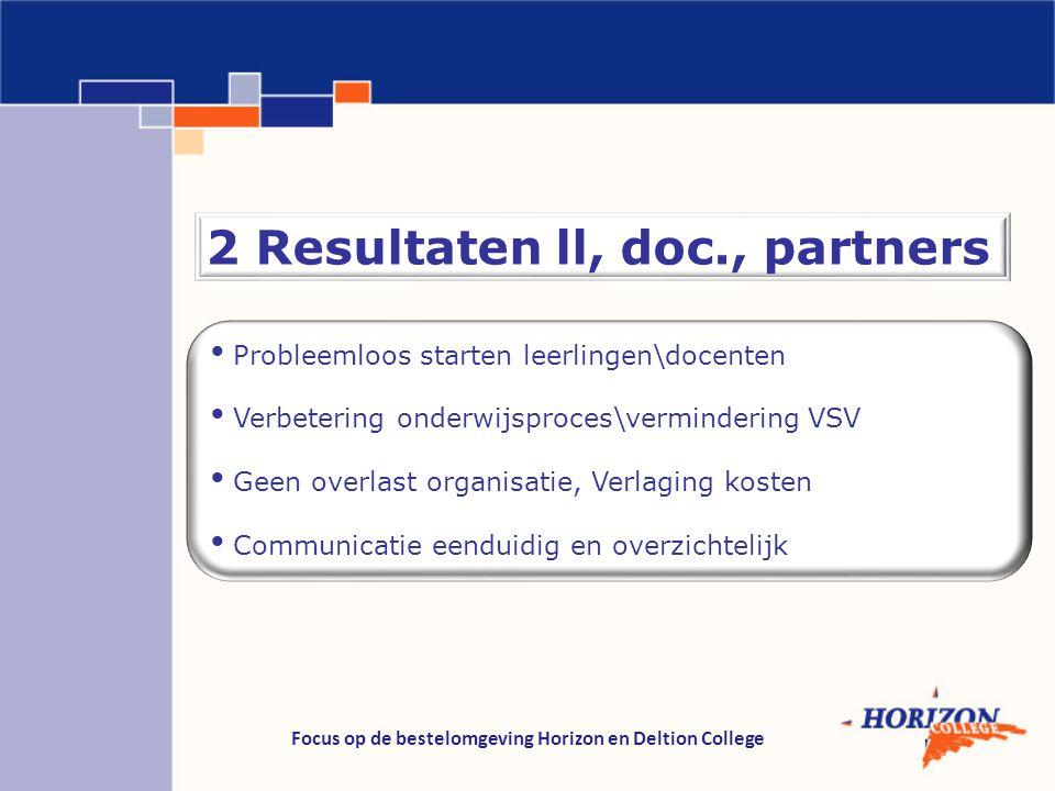 Focus op de bestelomgeving Horizon en Deltion College 2 Resultaten ll, doc., partners Probleemloos starten leerlingen\docenten Verbetering onderwijspr