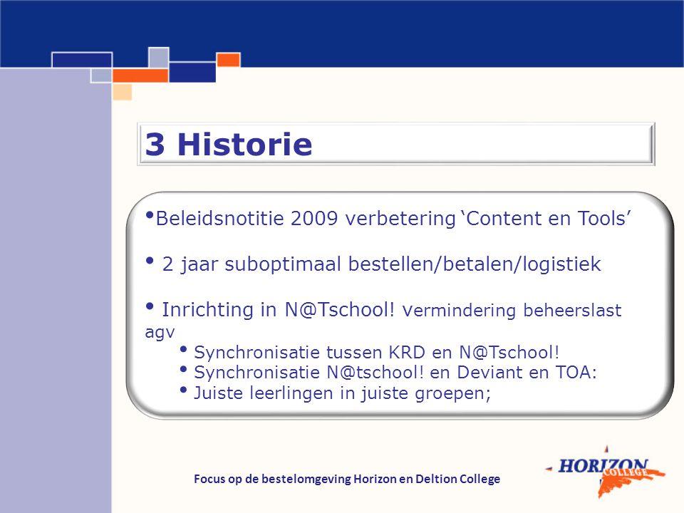 Focus op de bestelomgeving Horizon en Deltion College 3 Historie Beleidsnotitie 2009 verbetering 'Content en Tools' 2 jaar suboptimaal bestellen/betal