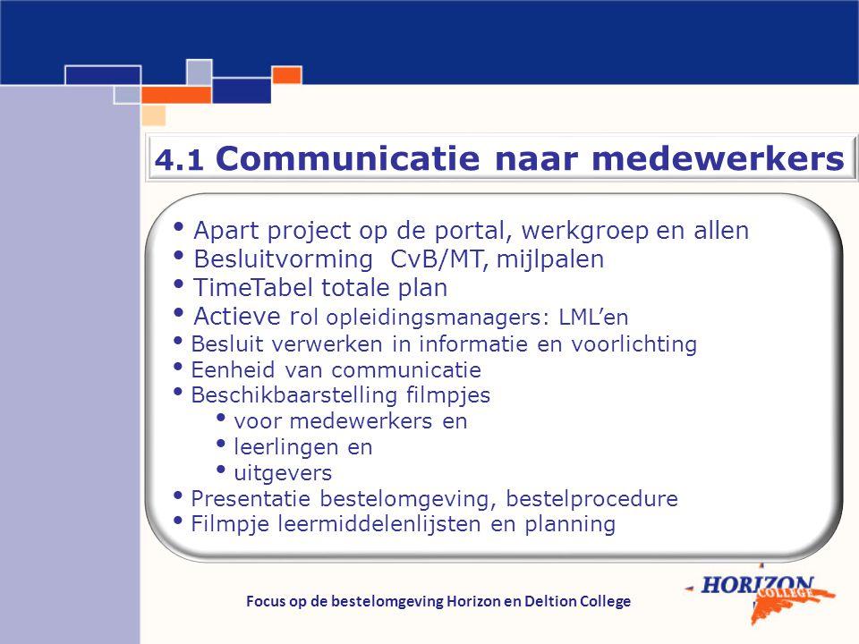 Focus op de bestelomgeving Horizon en Deltion College 4.1 Communicatie naar medewerkers Apart project op de portal, werkgroep en allen Besluitvorming