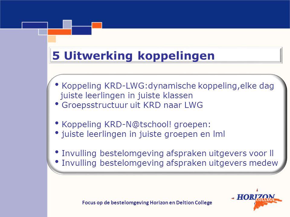 Focus op de bestelomgeving Horizon en Deltion College 5 Uitwerking koppelingen Koppeling KRD-LWG:dynamische koppeling,elke dag juiste leerlingen in ju