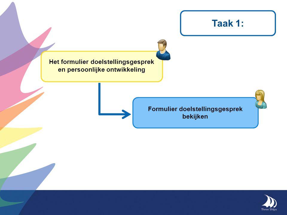 Taak 1: Het formulier doelstellingsgesprek en persoonlijke ontwikkeling Formulier doelstellingsgesprek bekijken