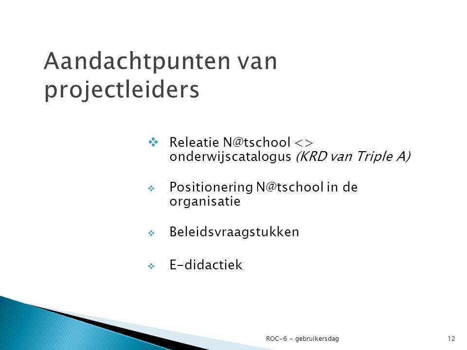  Releatie N@tschool <> onderwijscatalogus (KRD van Triple A)  Positionering N@tschool in de organisatie  Beleidsvraagstukken  E-didactiek ROC-6 - gebruikersdag12