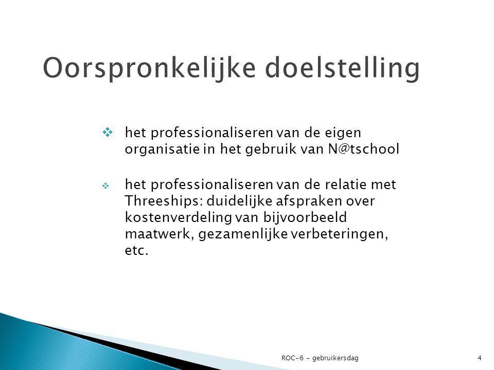  het professionaliseren van de eigen organisatie in het gebruik van N@tschool  het professionaliseren van de relatie met Threeships: duidelijke afspraken over kostenverdeling van bijvoorbeeld maatwerk, gezamenlijke verbeteringen, etc.